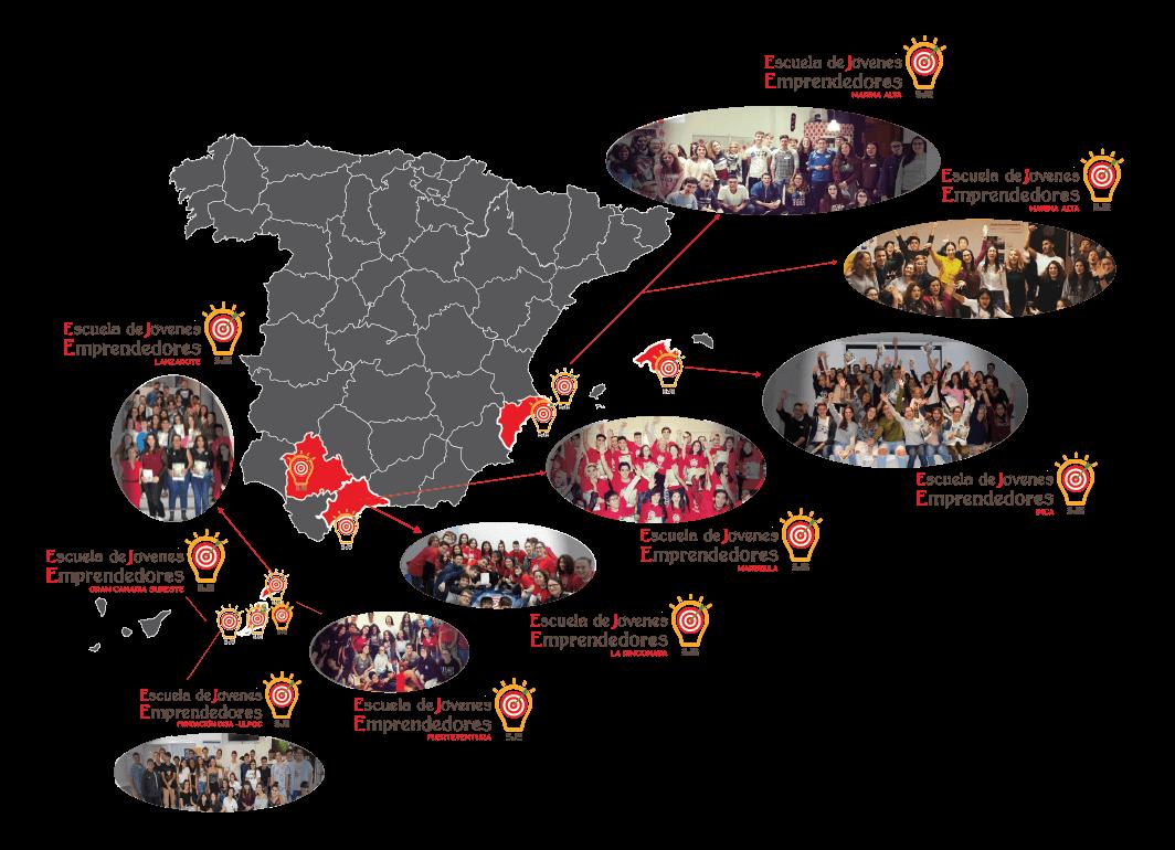 mapa de las escuelas de jovenes emprendedores